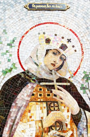 Mosaic of Saint Princess Olga. Saint Princess Olga...