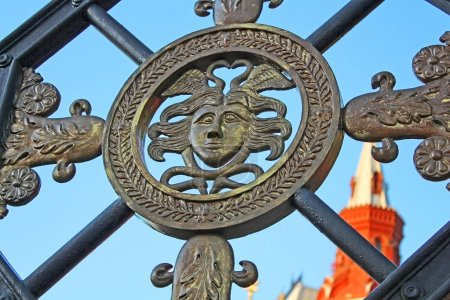 Wrought iron gate in the Alexander Garden near the Kremlin, Mosc