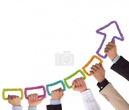 Photo for Hands holding colorful rope forming arrow pointing upwards - Royalty Free Image