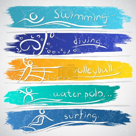 Illustration for Illustration of icon collection with summer sport symbols - Royalty Free Image