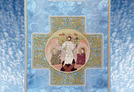 Embroidery depicting biblical scenes