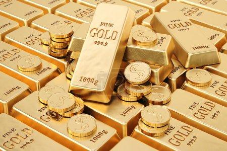 Foto de Barras de oro y monedas de oro . - Imagen libre de derechos