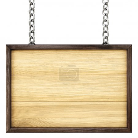 Photo for Wooden signboard on the chains. Isolated on white. - Royalty Free Image