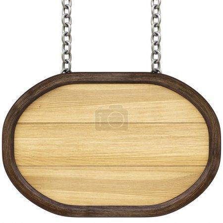 Photo pour Enseigne en bois sur les chaînes. Isolé sur blanc . - image libre de droit