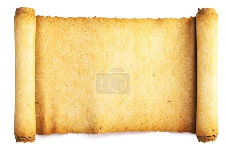 Photo pour Ancien rouleau de papier. Isolé sur blanc . - image libre de droit