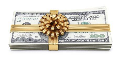 Photo pour Ruban d'or avec noeud. Isolé sur blanc . - image libre de droit