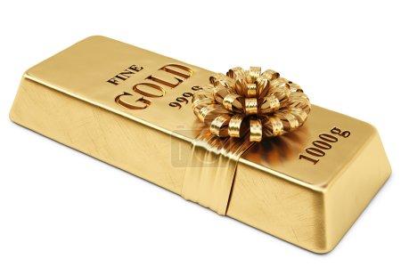 Photo pour Lingots d'or attachés ruban d'or avec arc. isolé sur fond blanc . - image libre de droit