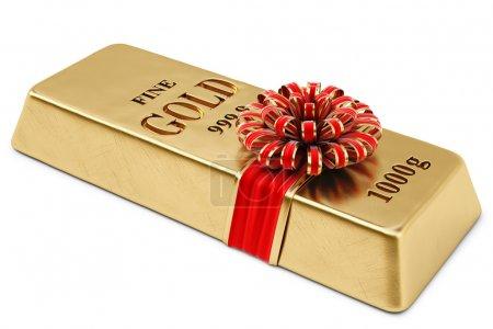 Photo pour Lingots d'or attachés ruban rouge avec arc. isolé sur fond blanc . - image libre de droit