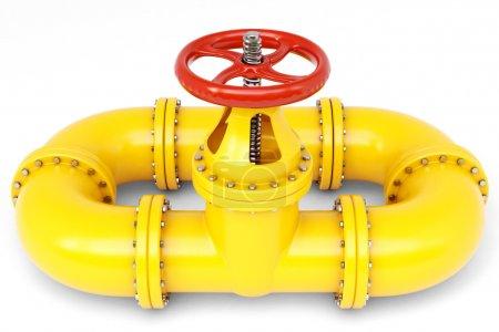 Photo pour Tuyau de gaz jaune isolé sur blanc . - image libre de droit
