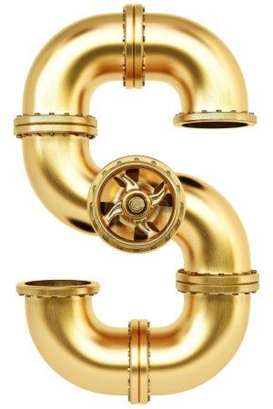 Photo pour Golden Gas pipe dollar signe isolé sur fond blanc . - image libre de droit