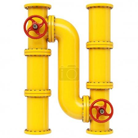 Photo pour Lettre n d'alphabet tuyau de gaz isolé sur fond blanc - image libre de droit