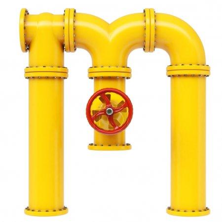 Photo pour Lettre de Alphabet M de tuyau gaz isolé sur fond blanc - image libre de droit