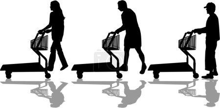 Illustration pour Silhouettes de gens qui font du shopping - image libre de droit