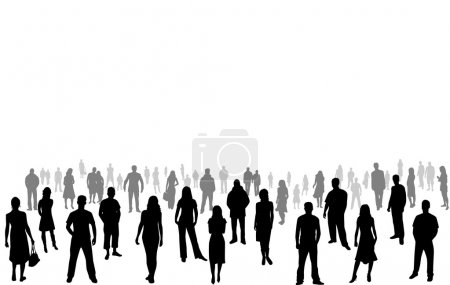 Crowd of people - vector silhouettes...
