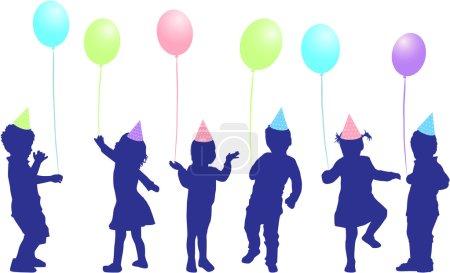 Ilustración de Fiesta de cumpleaños de los niños - Imagen libre de derechos