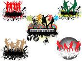 Concert under the palm-grunge background