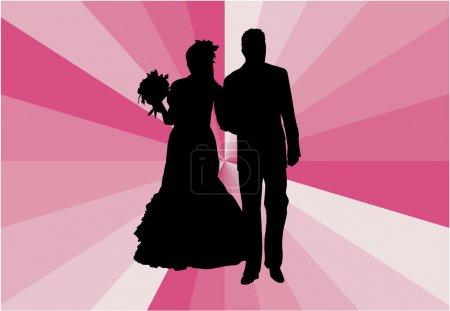 Illustration pour Couple marié - illustration vectorielle - image libre de droit