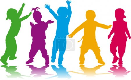Illustration for Childrens silhouettes - Royalty Free Image