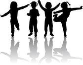 Skupina dětí siluety