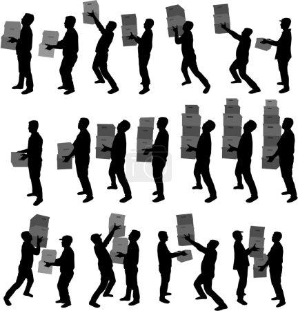 Illustration pour Silhouette d'un homme avec des boîtes - image libre de droit