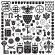 Collection of old coats of arms, heraldic shields,...