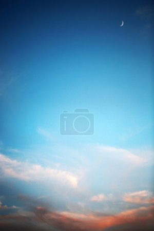 Photo for Beautiful sunset , deep blue sky and moon - Royalty Free Image