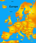 Detailed europe vector map
