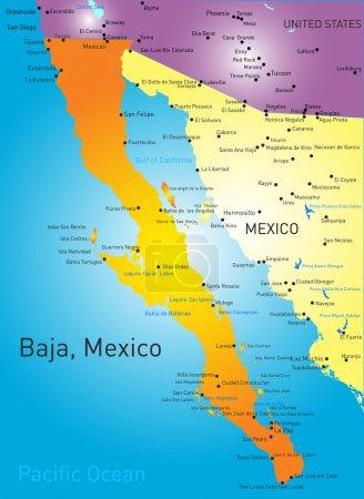 Illustration pour Baja californie carte des couleurs vectorielle - image libre de droit