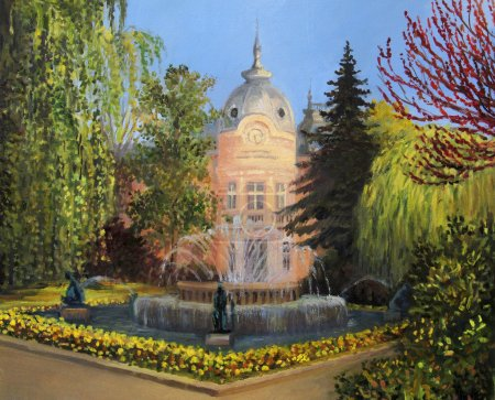 """Photo for The building of library """"Lyuben Karavelov"""" in Ruse, Bulgaria with the fountain and the colorful flower garden, represented on the canvas by me, Kiril Stanchev . - Royalty Free Image"""