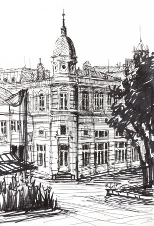 Photo for An ink graphic drawing of an old landmark building in Ruse, Bulgaria. Painted at age of 14. - Royalty Free Image