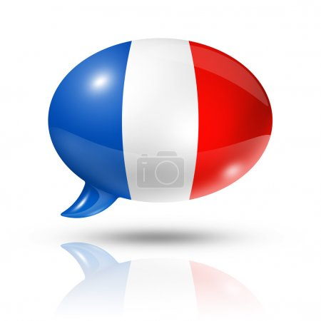 Photo for Three dimensional France flag in a speech bubble isolated on white with clipping path - Royalty Free Image