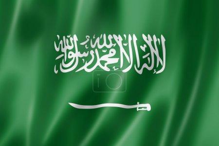 Photo for Saudi Arabia flag, three dimensional render, satin texture - Royalty Free Image