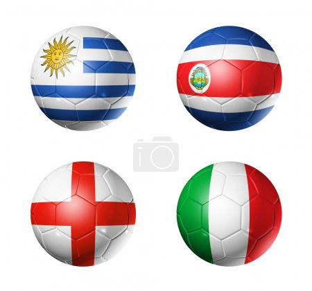 Brazil world cup 2014 group D flags on soccer balls