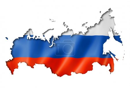Photo for Russia flag map, three dimensional render, isolated on white - Royalty Free Image