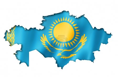 Photo for Kazakhstan flag map, three dimensional render, isolated on white - Royalty Free Image