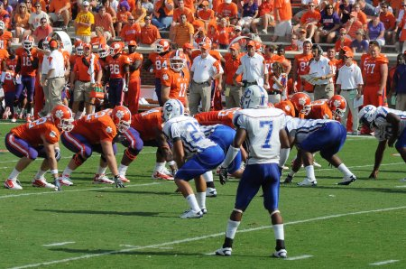 Clemson's Kyle Parker at the line of scrimmage