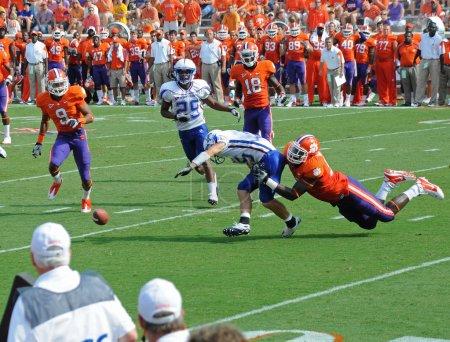 Presbyterian's quarterback fumbles