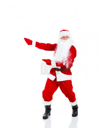 Photo for Santa Claus holding Banner point finger glove at blank empty copy space for Text isolated over white background - Royalty Free Image