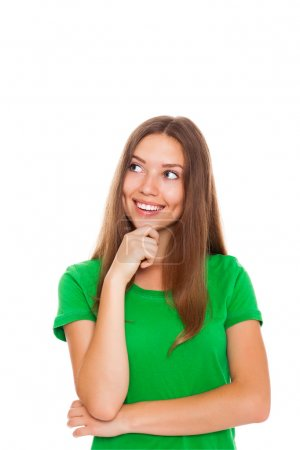 Photo for Pretty woman think looking up to empty copy space, young smile attractive teenage student girl pondering look to corner wear green shirt isolated over white background - Royalty Free Image