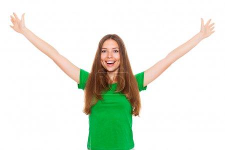 Photo pour Sourire adolescent excité fille levé paumes bras mains à vous, isolé sur fond blanc concept de liberté étudiant heureux, jeune jolie femme nous demandant de venir étreinte - image libre de droit