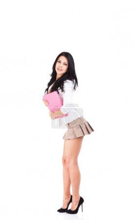 School student girl smile in short skirt
