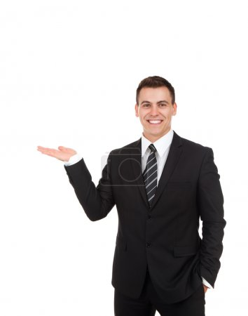 Businessman showing something on the open palm