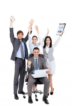 Successful excited Business people group team