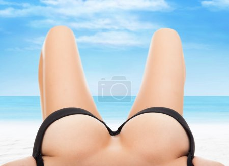 Woman big breast lying with empty copy space