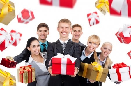 Business people group holding present gift