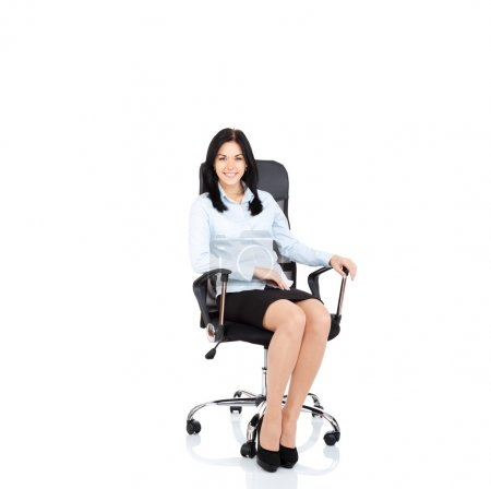Photo for Smiling business woman sitting in chair. young businesswoman smile isolated over white background - Royalty Free Image