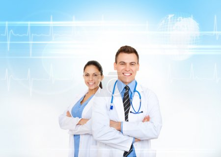Medical team, doctor man and woman with stethoscope