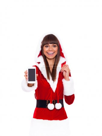 Christmas girl happy smile hold cell phone , young...