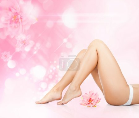 Woman beauty legs, ass back body over pink leaves