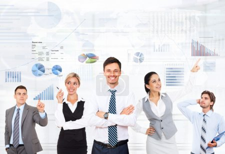 Photo for Business people team on graphs and finance diagrams background - Royalty Free Image